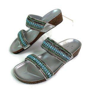 Mila Paoli Silver Turquoise Embellished Sandals 9